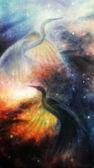Photo Bird  Heron in beautiful space airbrush painting