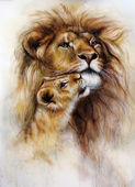 Photo Majestic  lion male with golden mane loving   and her baby cub