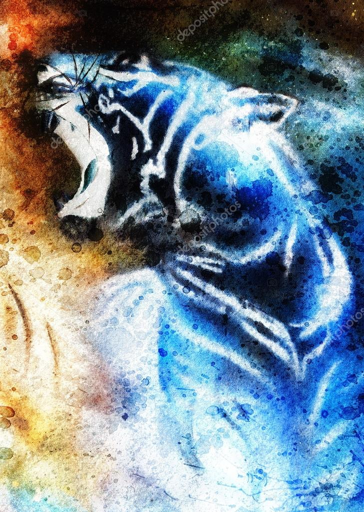 Painting abstract tiger collage on color space background, wildlife animals.