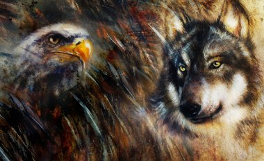 Wolf and eagle color painting, feathers background, multicolor collage illustration.