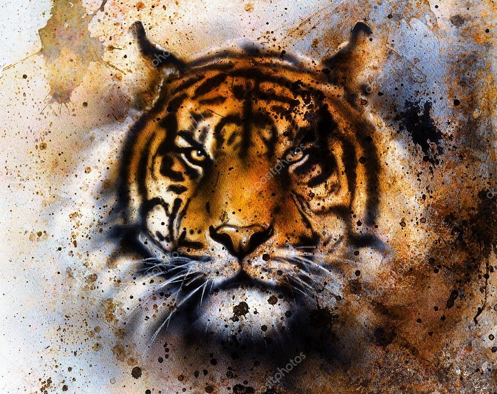 Tiger Collage On Color Abstract Background Rust Structure Wildlife Animals Eye Contact