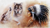 Photo beautiful airbrush painting of a young indian woman wearing a gorgeous feather headdress, with an image of two wolfs spirits hovering above her palm
