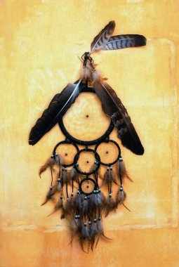 Dream catcher with eagle and raven feathers on orange structure wall.