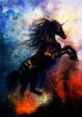painting of a black unicorn dancing in space desert effect