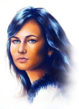 """Картина, постер, плакат, фотообои """"портрет молодой женщины, с длинными темными волосами и голубыми глазами, цветная живопись, белый фон . поп"""", артикул 70990975"""