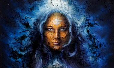 Mystic face women, with structure crackle background effect, with star on forehead, collage. eye contact .