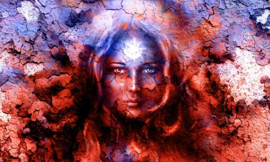 Mystic face women, with structure crackle background effect, with star on forehead, collage. eye contact