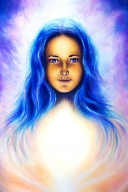 Woman goddess with long blue hair and white light, spiritual blue eye, eye contact.