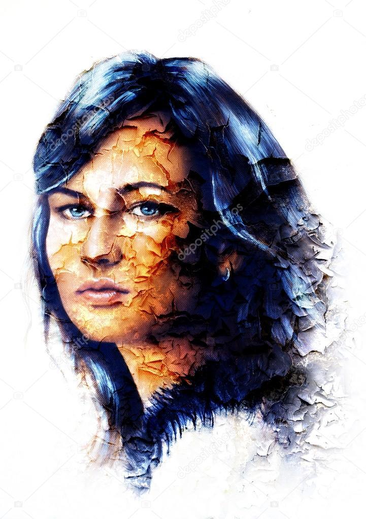 Porträt Der Jungen Frau Mit Lange Dunkle Haare Und Blaue Augen