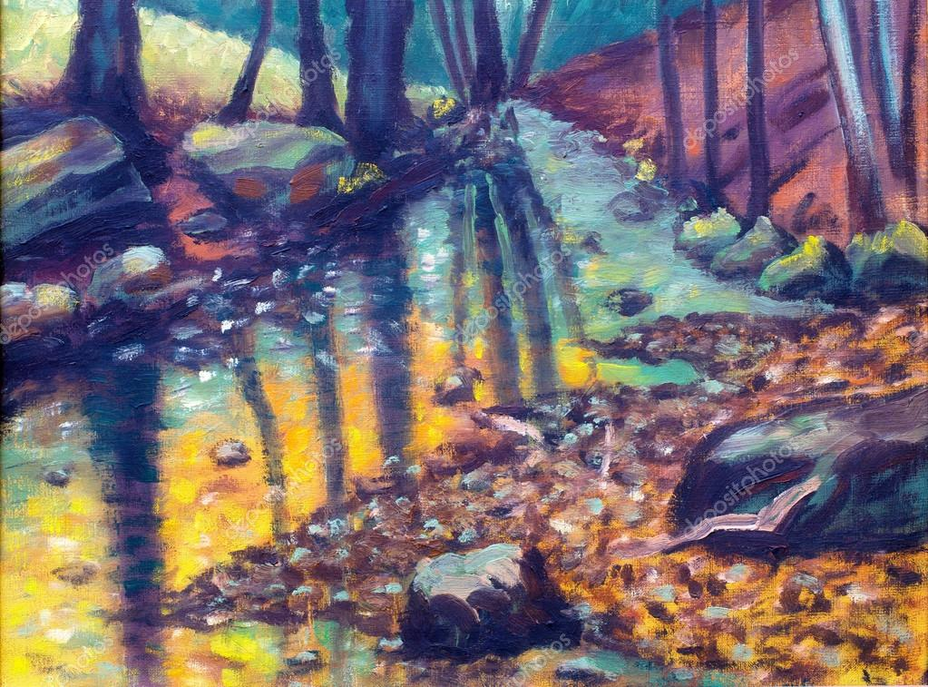 river in autumn forest,  oil painting.