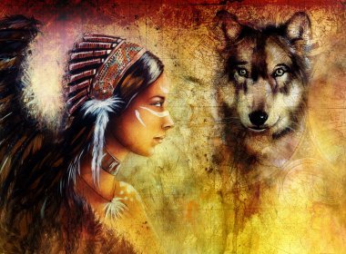 young indian woman wearing  with  wolf and feather headdress