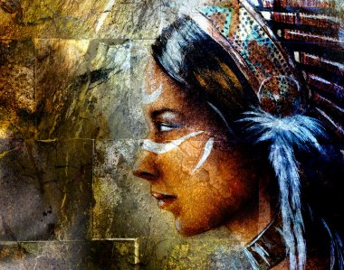 young indian woman wearing a big feather headdress, on wall background collage