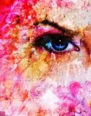 Blaue Frauen Augen strahlend bis bezaubernd aus Blumen auf Rosa abstrakt
