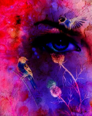 blue women eyes beaming up enchanting from flower, with bird on pink abstract background.