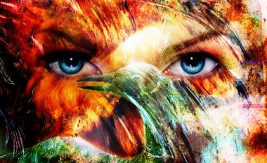 Beautiful blue women eyes beaming, color feathers effect, painting collage, and bird phoenix, artist makeup