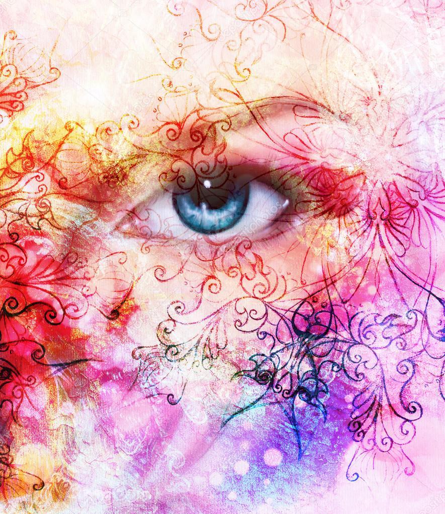 hermosas mujeres azul ojos efecto de color collage de pintura maquillaje violeta y adornos u foto de stock