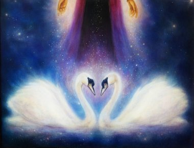 Romantic two swans on cosmic space, and woman hand with stars.