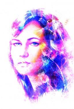 """Картина, постер, плакат, фотообои """"голубая богиня женщина глаза с птицами на многоцветном фоне зрительный контакт, женщина коллаж лица . портрет фото"""", артикул 78513214"""
