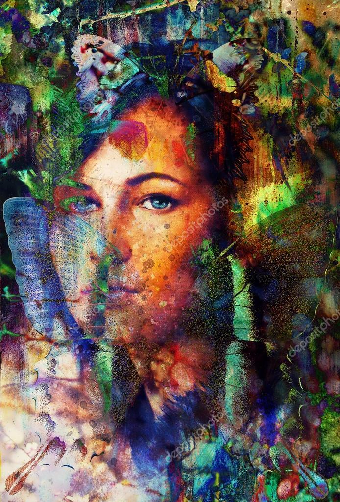 Portret van de jonge vrouw met lang donker haar en blauwe ogen kleur schilderij en vlekken - Kleur schilderij ingang ...