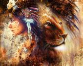 Indian woman wearing  feather headdress with lion and abstract color collage