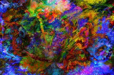 Abstract color Backgrounds and flower, painting collage, Fire fractal effect, red, green and orange collage.