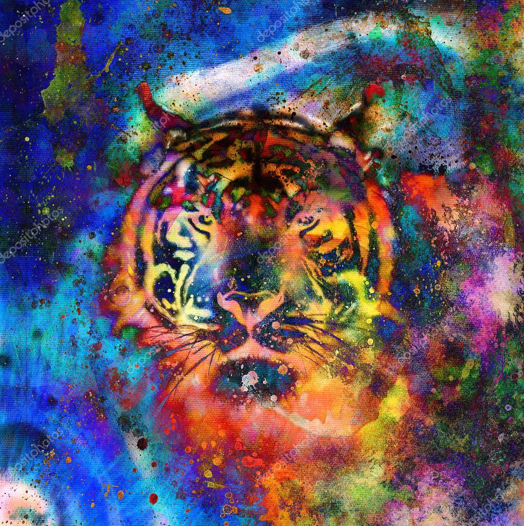 collage de tigre sobre fondo abstracto de color, estructura ...