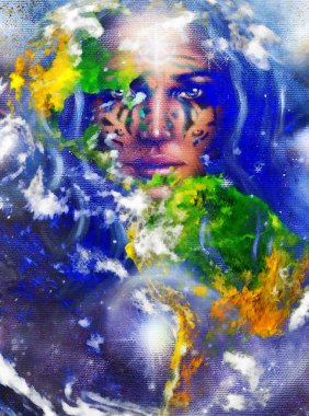 Goddess Woman with tattoo on face and earth