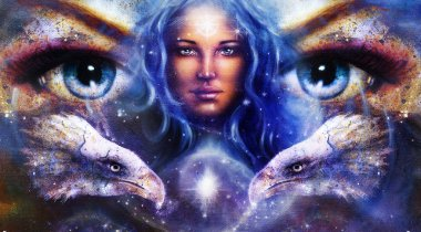 Goddess Woman in space with light stars and eagles head, eyes women. Eye contact, Abstract color background.