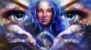 Goddess Woman in space with light stars and eagles head, eyes women with earth. Eye contact, Abstract color background.