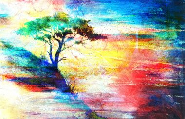 Painting sunset, sea and tree, wallpaper landscape, color collage
