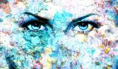 Fotografie Blue goddess women eye, multicolor background. eye contact.