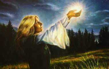 painting mystical young woman in green emerald medieval dress is holding a glowing ball of light in her palms amids a nocturnal meadow. profile portrait