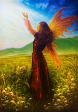 painting fairy woman in a historic dress standing in rays of sunlight amids a wild meadow Color effect.