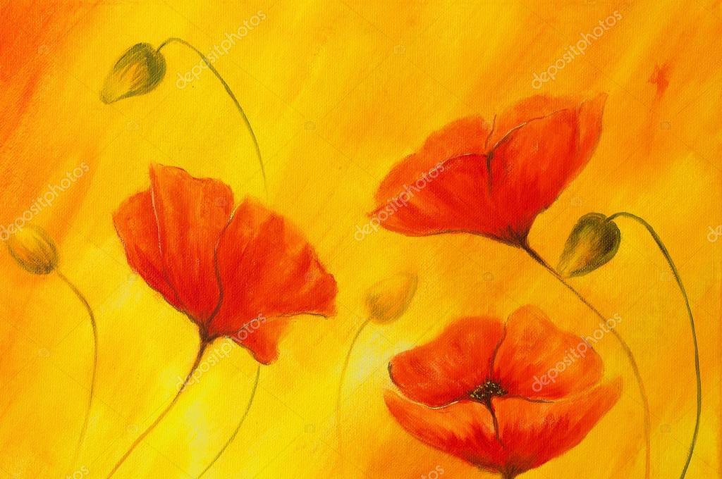 red poppy on orange background red flower on abstract color background red poppies