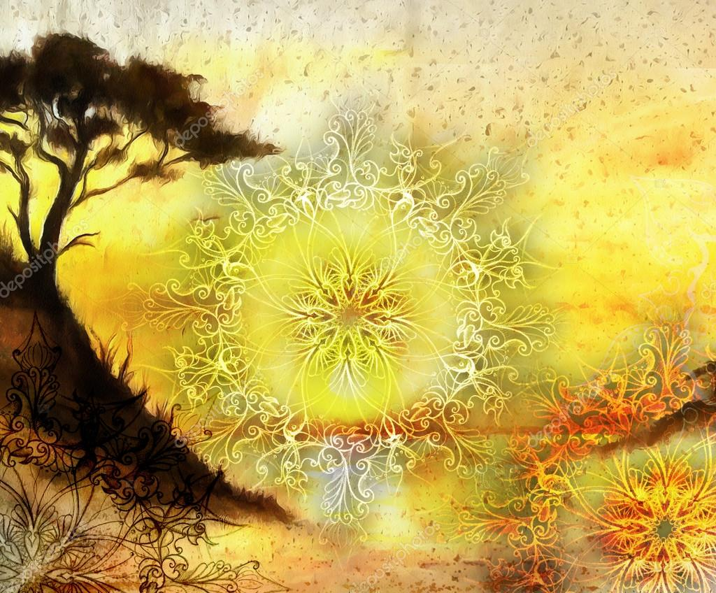 Painting tree, wallpaper landscape and ornamental mandala. Oriental background collage. orange, yellow and black color