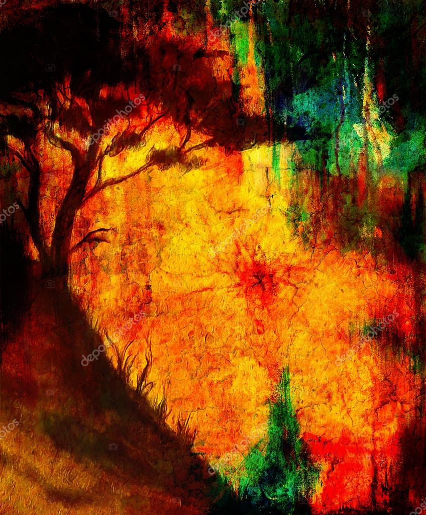 Painting Sunset And Tree Wallpaper Landscape Color Collage And