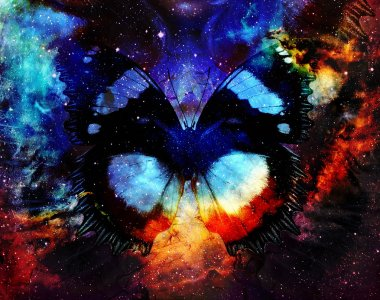 illustration of a butterfly in cosmic space. mixed media, abstract color background.