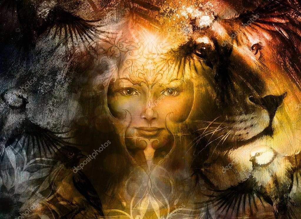 Güçlü Aslan Kafa Ve Yüz Kuş Anka Kuşu Dövme Ile Mistik Kadın Yüz