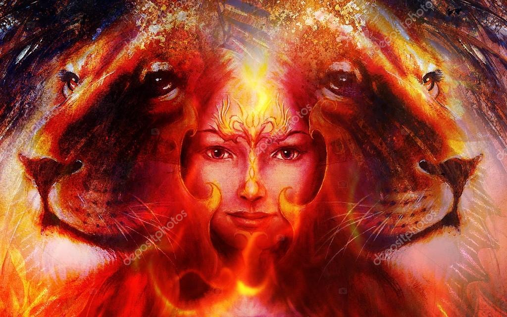 Tableau Puissant Lion Tete Et Visage De Femme Mystique Avec