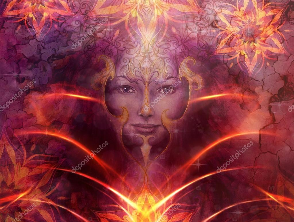 Mooi schilderij godin vrouw met decoratieve mandala en kleur