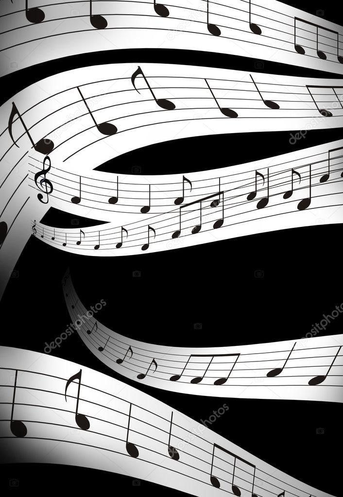 Nota Di Musica E Abstrtact Colore Sfondo Bianco E Nero Foto