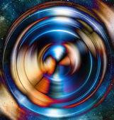 Audio hudba reproduktor s barevný efekt. Kosmický prostor a hvězdy, abstraktní pozadí