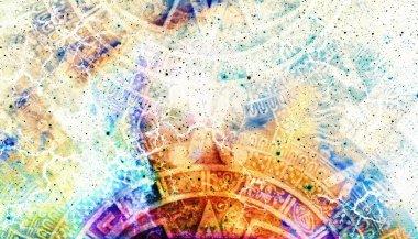 """Картина, постер, плакат, фотообои """"календарь древних майя, абстрактный цвет фона, компьютерный коллаж."""", артикул 97990898"""