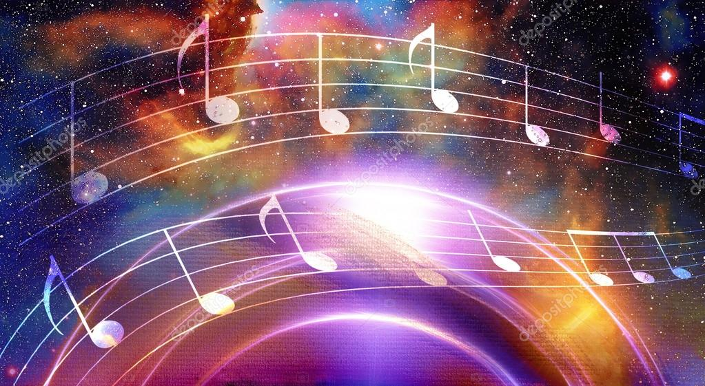 Music note and Space with stars  abstract color background
