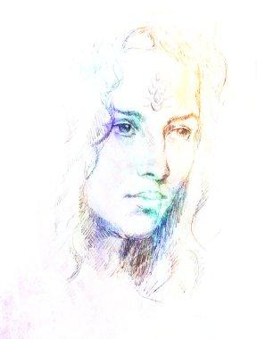 """Картина, постер, плакат, фотообои """"рисунок портрета молодая женщина с орнаментом на лице, цветная живопись на абстрактном фоне, компьютерный коллаж . портрет портреты фото"""", артикул 99192186"""