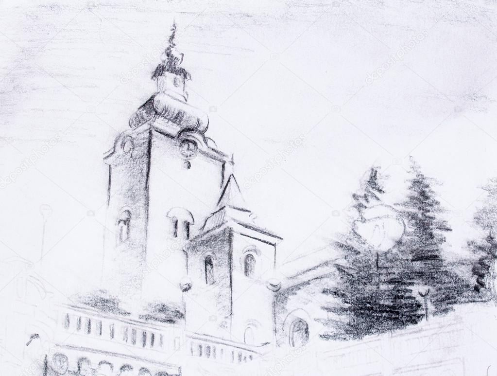 How To Draw A Church Pencil Sketch Church Drawing On Vintage Paper Stock Photo C Jozefklopacka 99190286