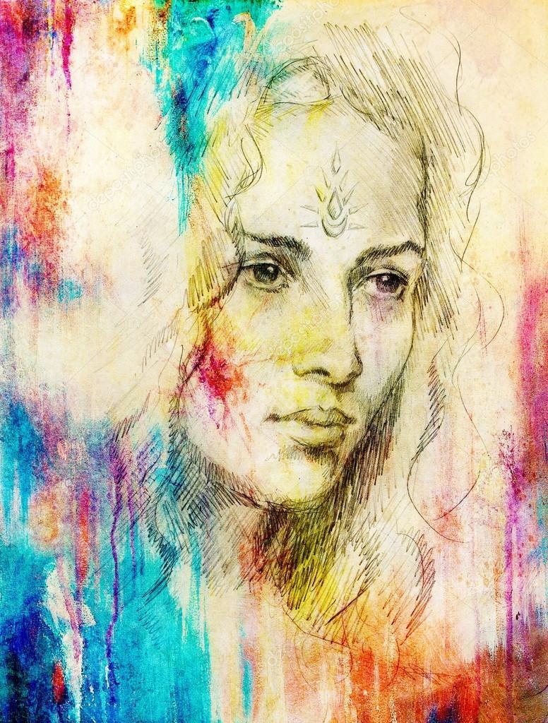 Kreslen portr t mlad eny s ornamenty na obli eji barevn obraz na pozad abstraktn - Tuto peinture abstraite contemporaine ...