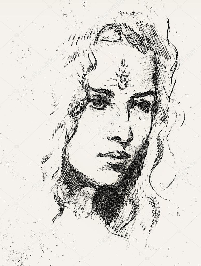 Dessin Portrait Jeune Femme Avec Ornement Sur Le Visage L