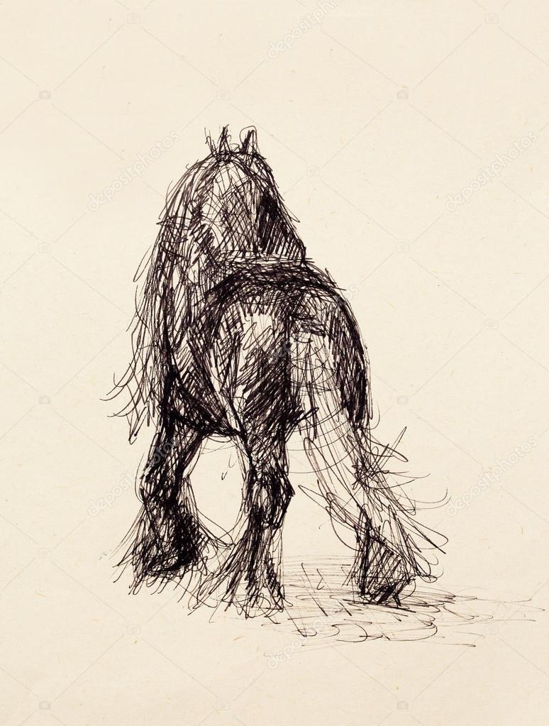 Zeichnen Sie Bleistift Pferd Auf Altes Papier Original Hand