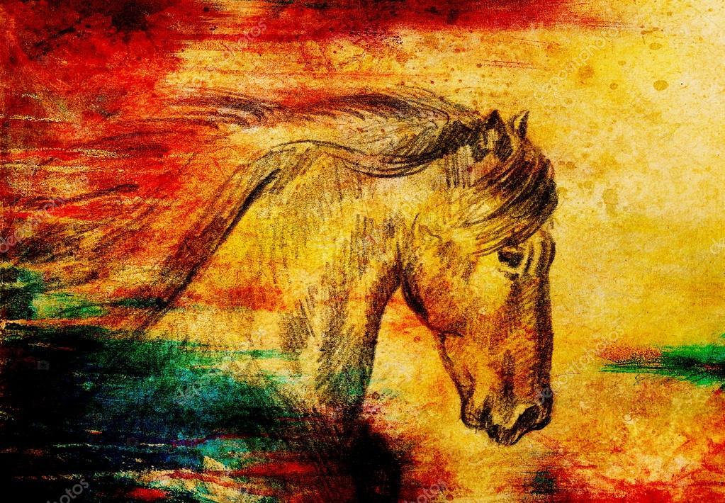 Zeichnen Bleistift Pferd Auf Altem Papier Original Hand